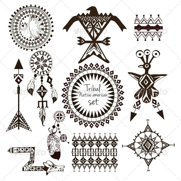 Tribal Native American Set Native Americans Symbols And Tattoo
