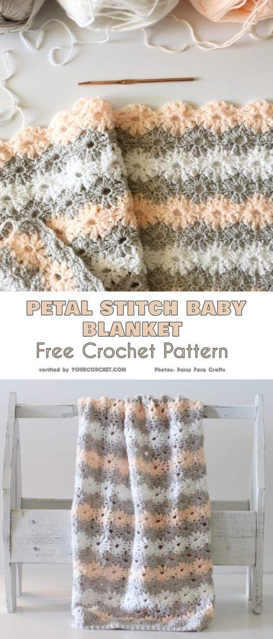 Petal Stitch Baby Blanket Free Crochet Pattern | crochet: colchas y ...