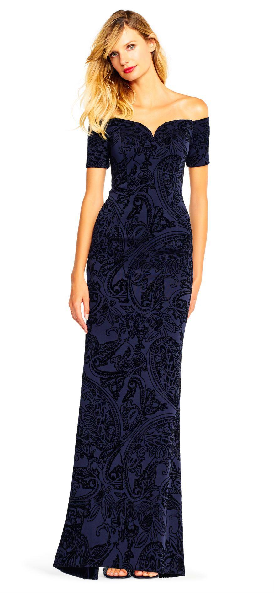 Off the shoulder paisley velvet gown with short sleeves velvet