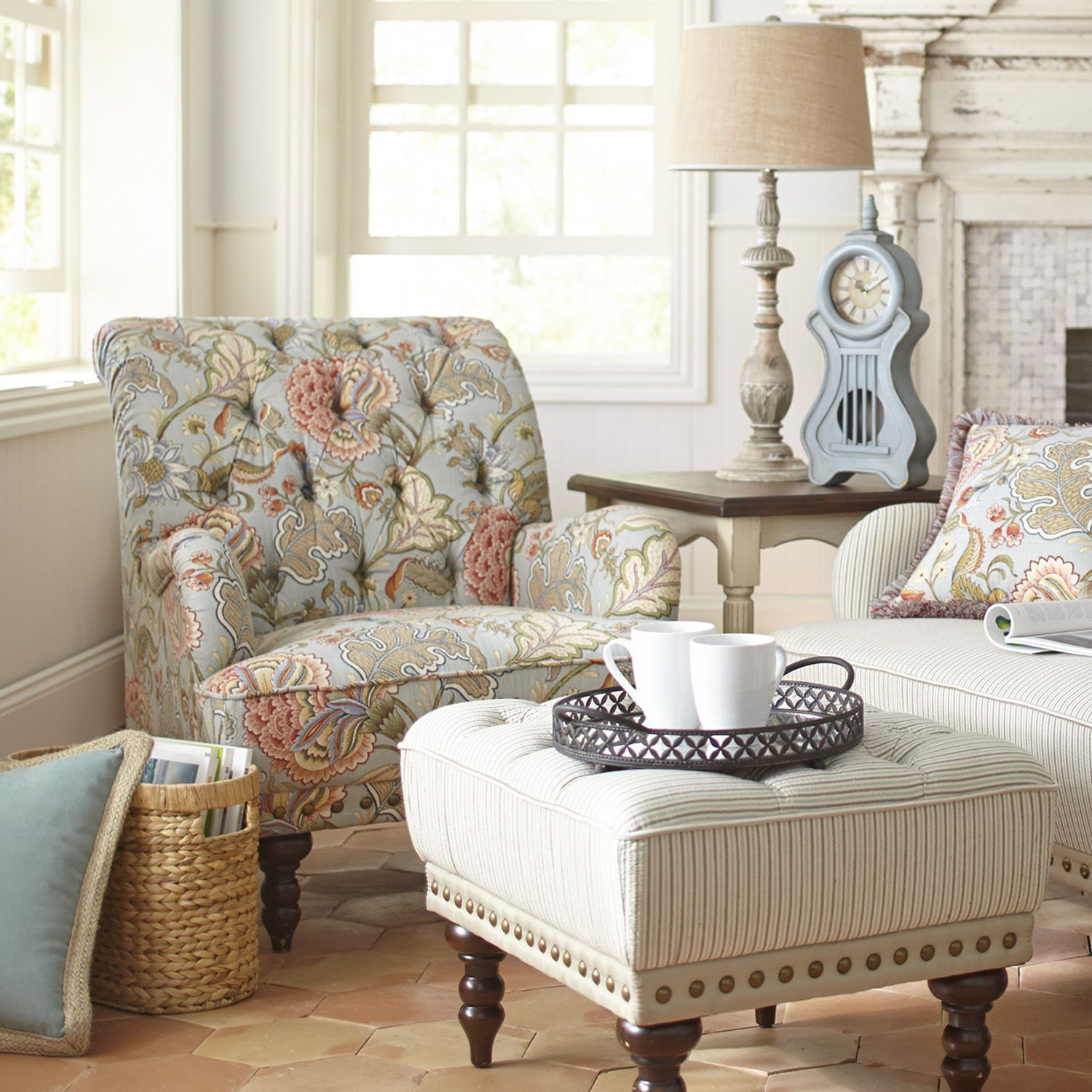 Chas Blue Floral Armchair Armchairs - Pier 1 living room