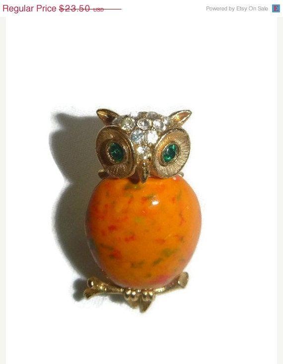 FALL SALE 70's Orange Owl Brooch Pin by PopcornVintageByTann