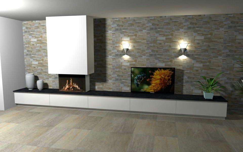 ideetje voor de korte wand open haard kal fire eco prestige goud kwartsiet natuursteenstrips. Black Bedroom Furniture Sets. Home Design Ideas