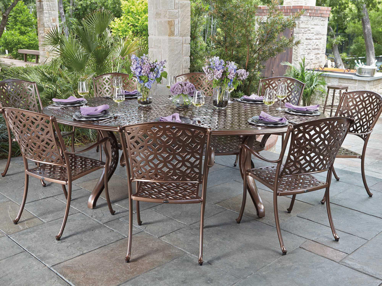 Woodard Casa Cast Aluminum 98.50 x 70 Oval Dining Table