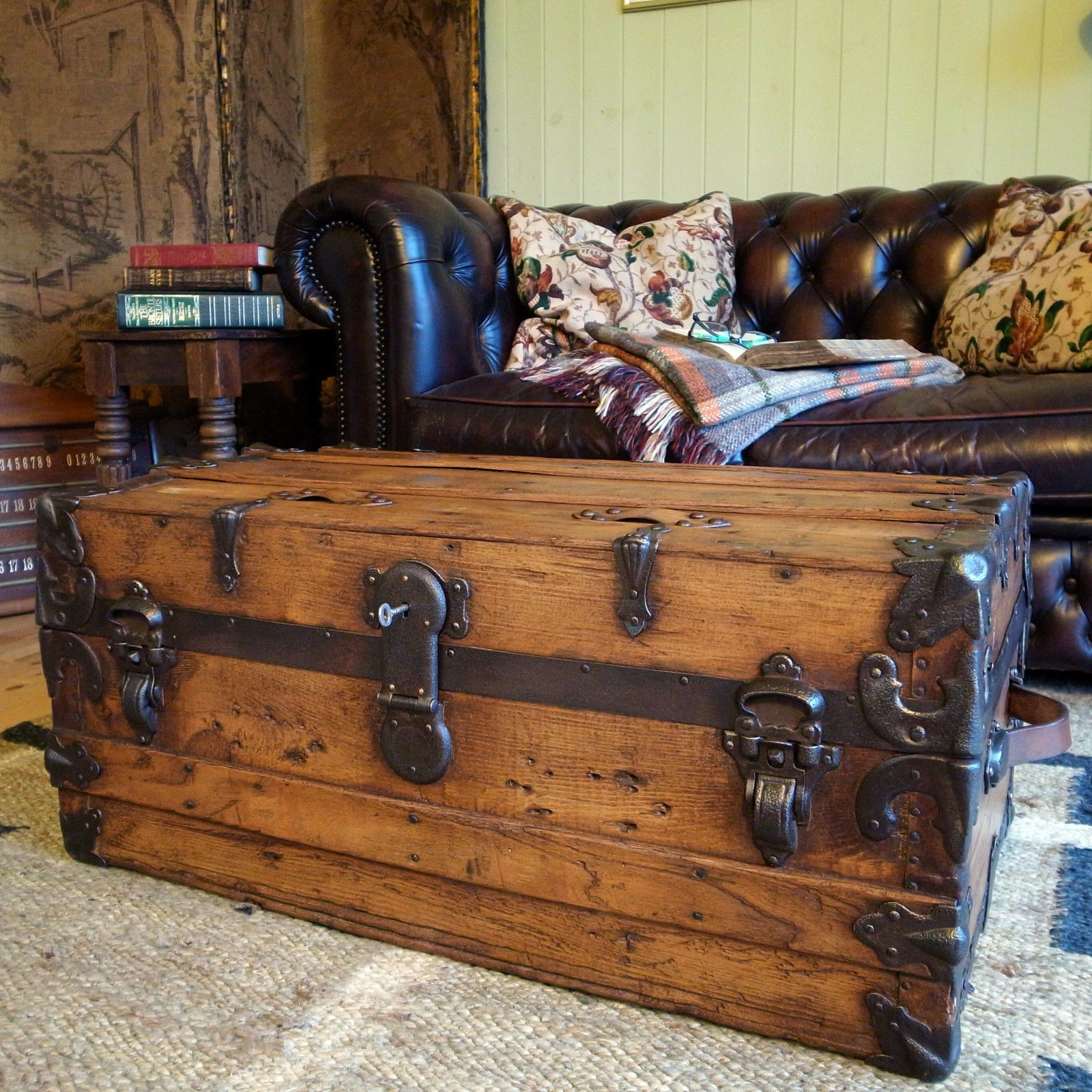 Vintage Steamer Trunk Pine Chest Victorian Travel Trunk Storage Box
