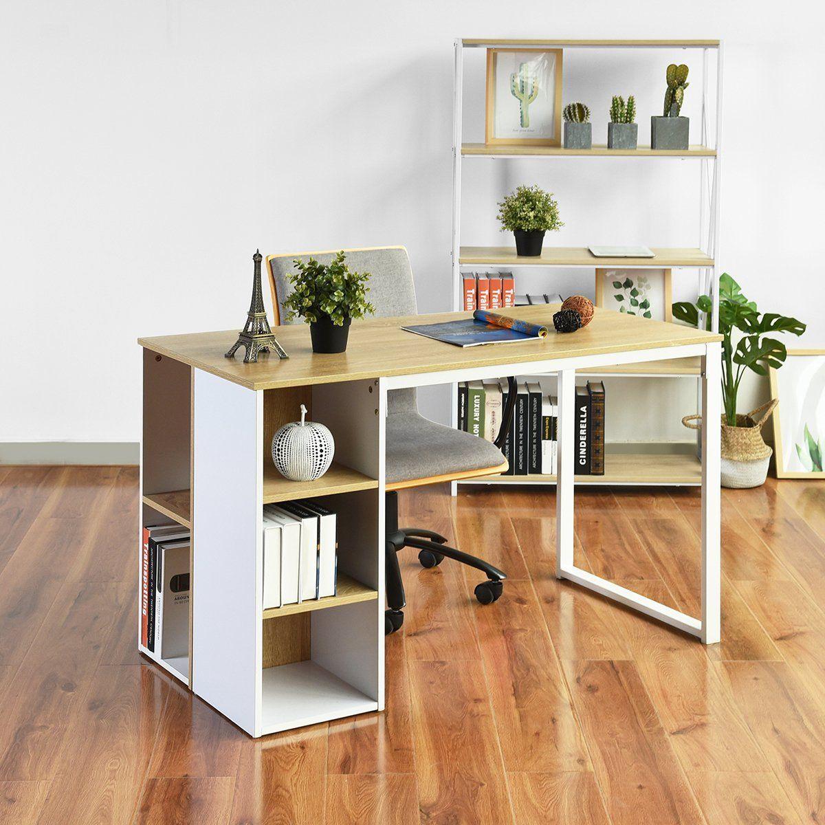 Amazon Com Computer Desk With 5 Side Shelves Organizers Wood Style And Metal Legs Large Size Work Surface Work Office Desk Designs Desk Design Large Work Desk