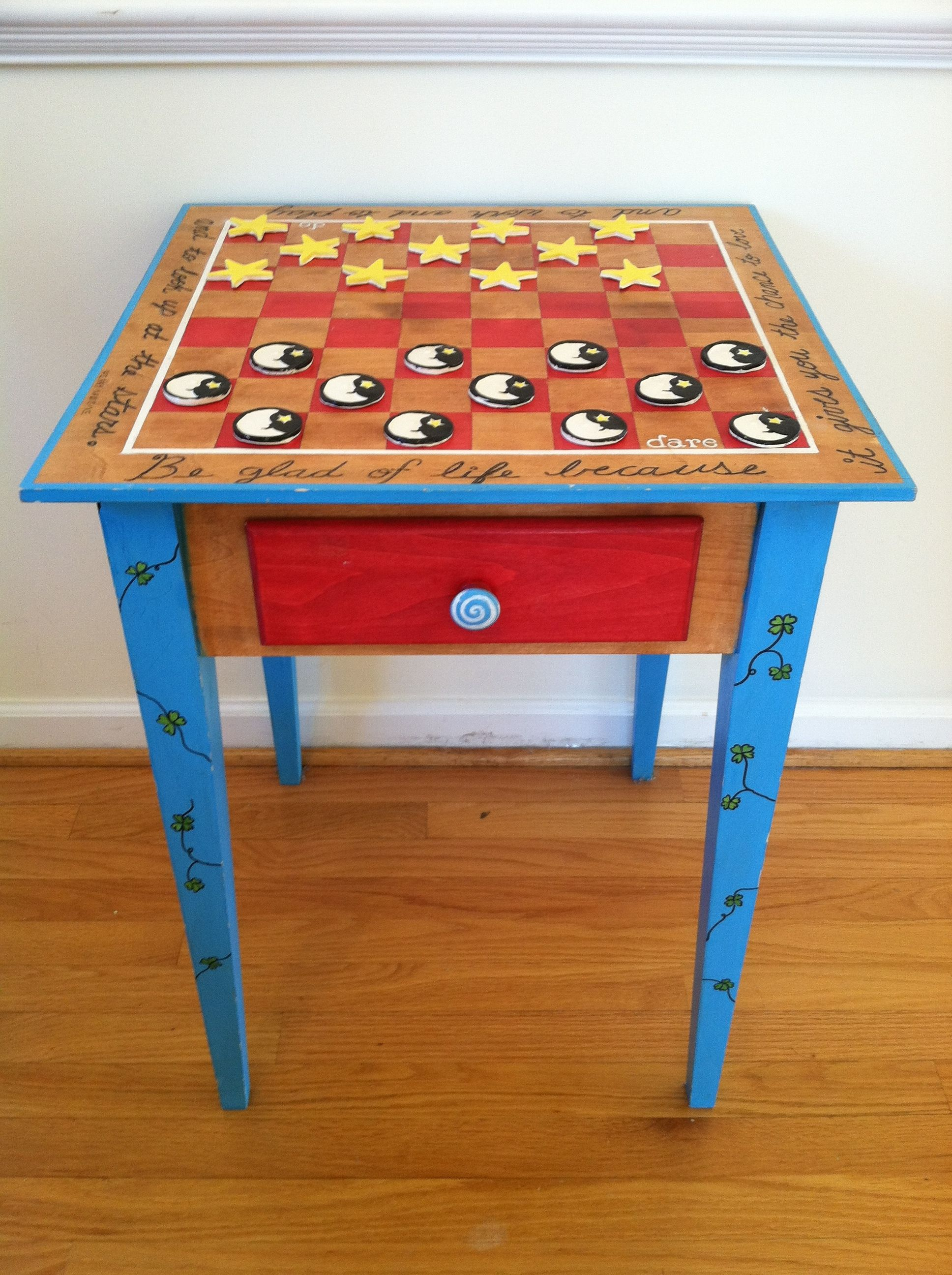 Whimsical And Stylish Hand Painted Solid Wood Table