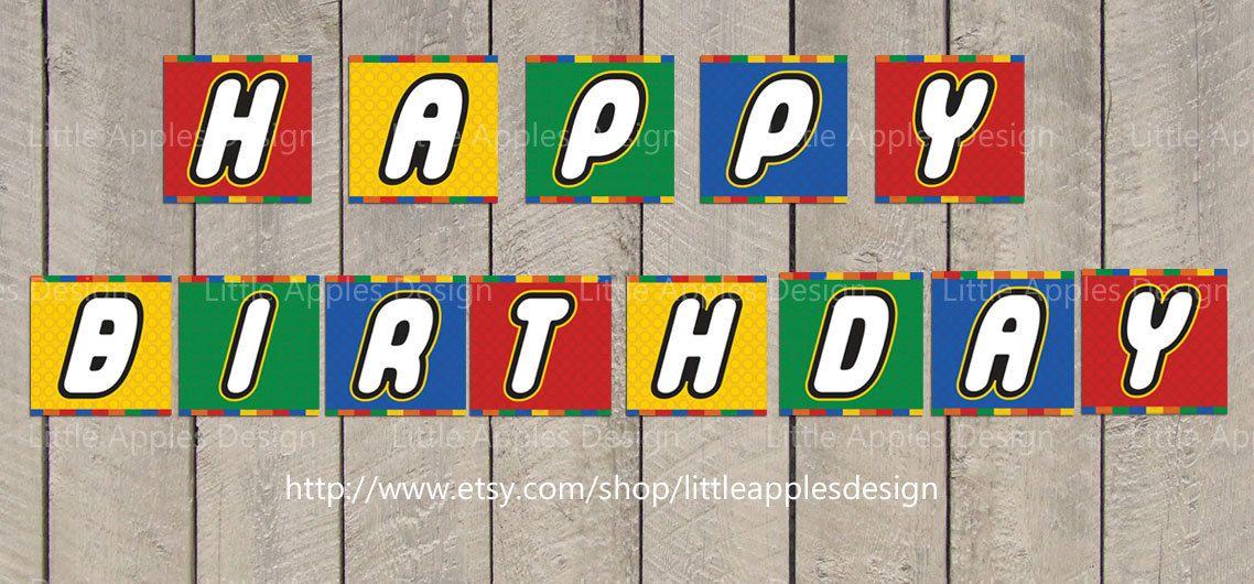 Lego Birthday Banner / Lego Banner / Lego Party Printable / Lego Birthday Party / PDF Printable DIY. $5.00, via Etsy.