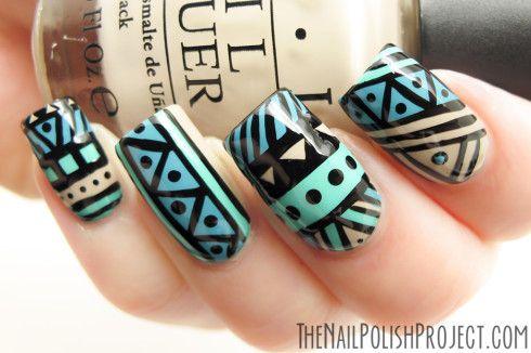 Tribal Nails Art.