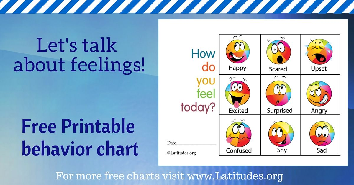 Free Feelings Chart  How Do You Feel Today Colorful  Feelings