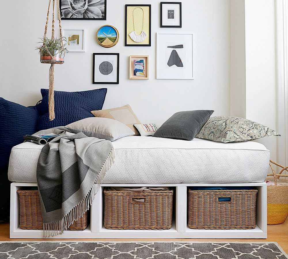 - Stratton Daybed With Baskets & Tufted Cushion Set, Antique White