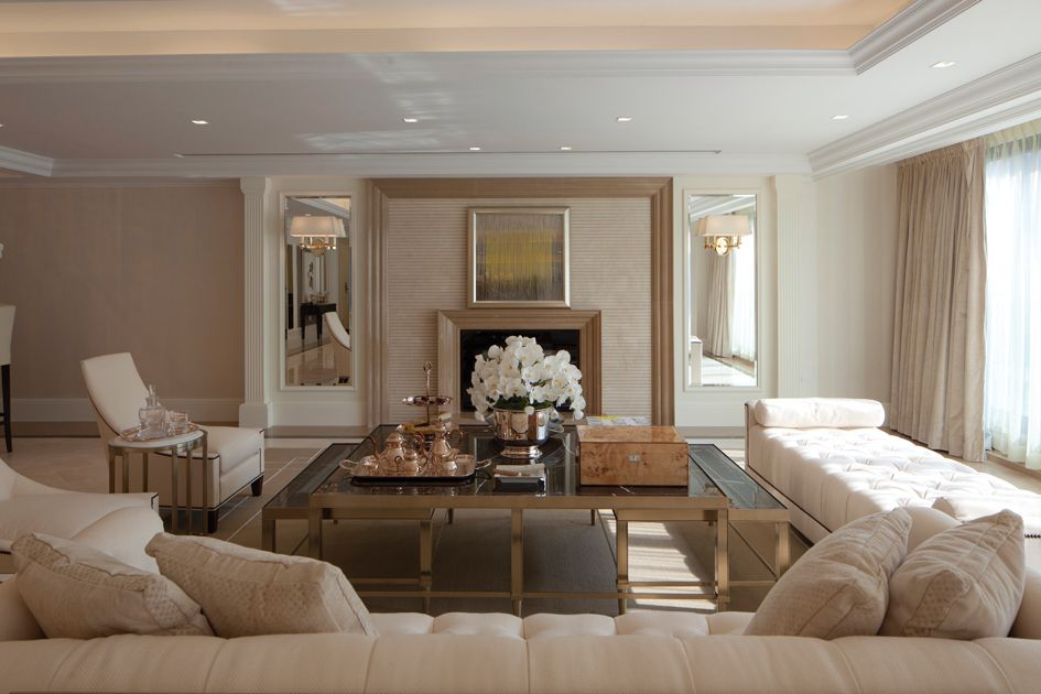 Marvelous Quilted Cream Chase Neutral Modern Living Fireplace Steve Leung
