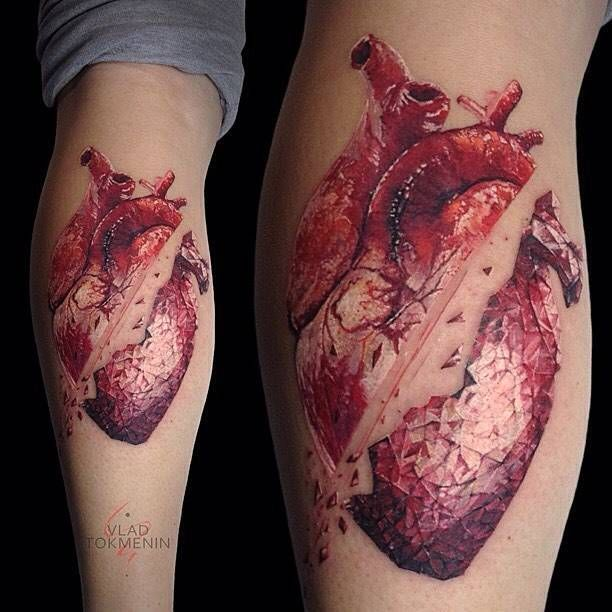 Graphic style anatomical heart tattoo on the calf. Tattoo artist ...