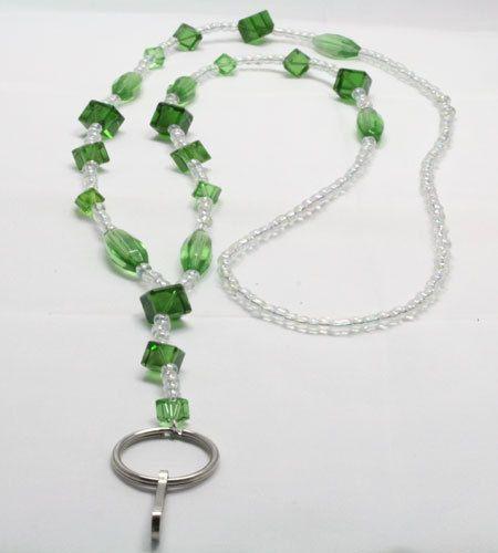 Green Glass Cube Lanyard by LandLJewelryDesigns on Etsy, $15.00