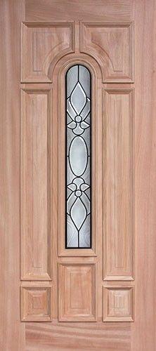 Center Arch Mahogany Wood Front Door With Patina Black Caming