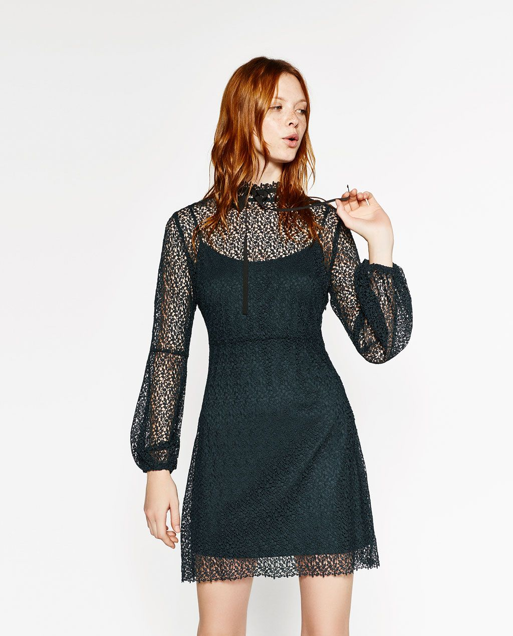 Zara woman long sleeved guipure lace dress projects to try