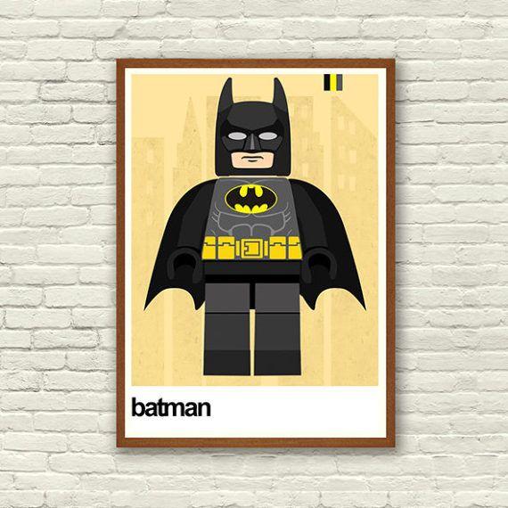 Lego Superhero Print Lego Batman Poster print Lego Art   Little Boys ...