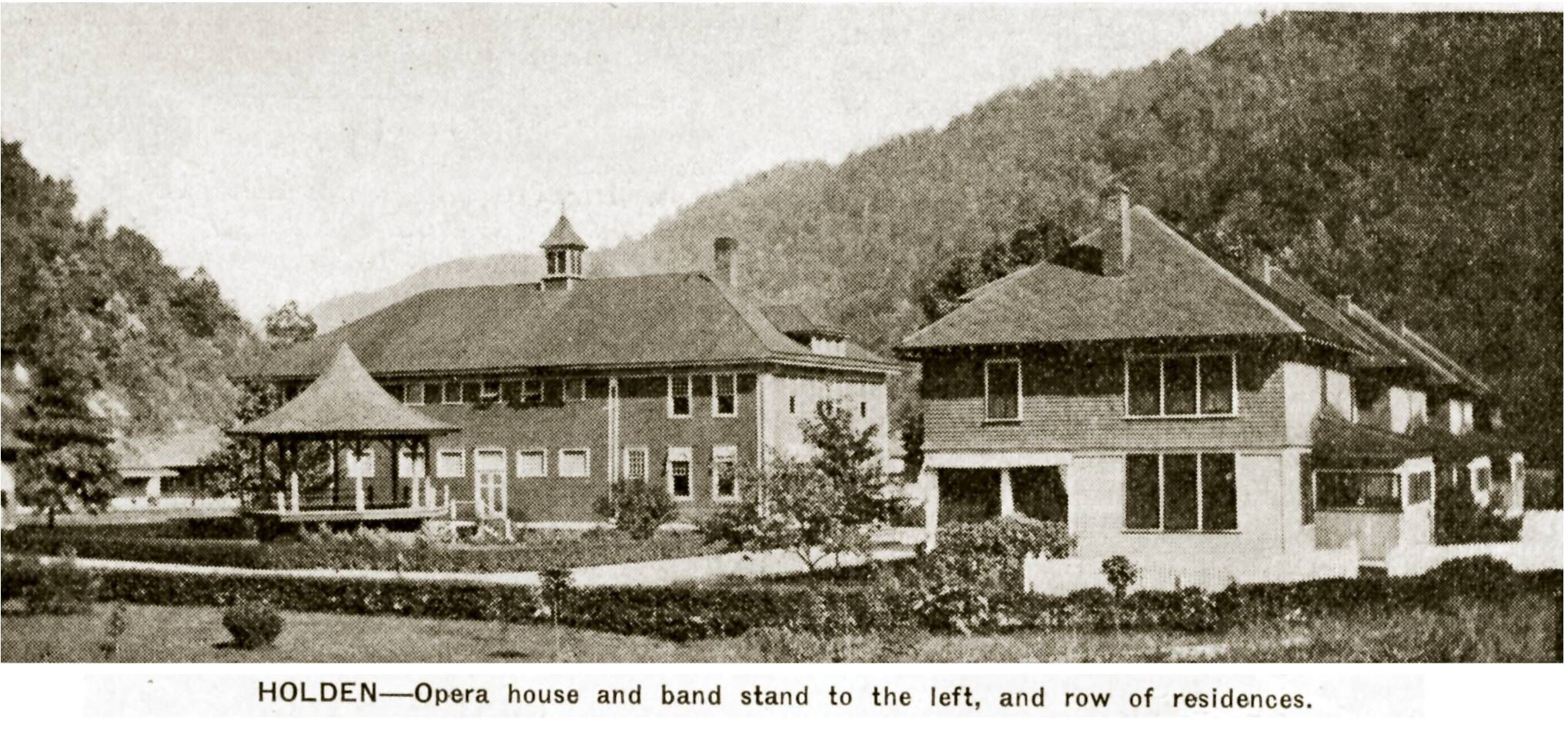 "Rare photo from an old copy of ""Island Creek Pioneer Magazine"" in 1922 showing Opera House and Band Stand and a row of residences in Holden, Logan Co WV-Coal Mining Town--by Keith Davis posted by Lula Browning to IMWVCT"