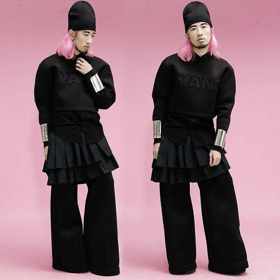 Alexander Wang Beanie Worn Reversed, Alexander Wang Cropped Sweater, Button Down Shirt, Pleated Skirt, Wide Leg Trousers, Ann Ong Silver Cuffs