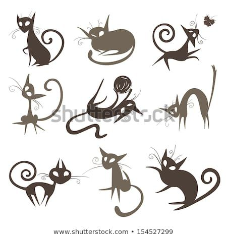 silhouettes of cartoon cats  cartoon cat cat stock cat