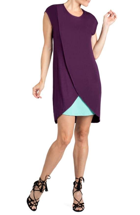 4f60559e6e1e5 Savi Mom layered nursing dress in eggplant (Medium)   Nursing ...