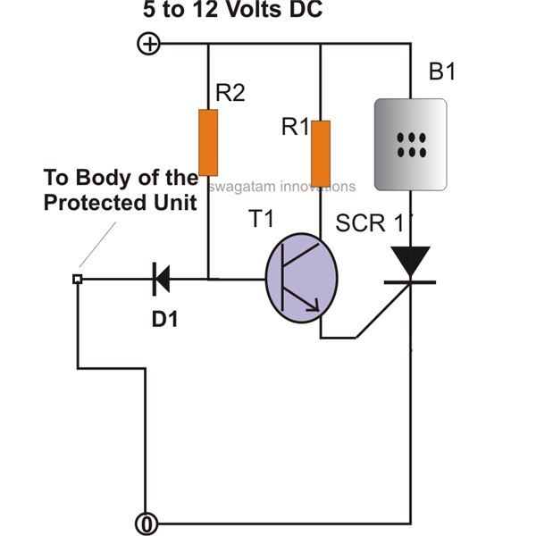 simple scr security alarm circuit diagram  image