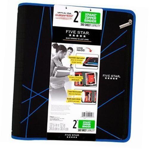 Five Star Xpanz 2 Zipper Binder Blue Lines 380 Sheet
