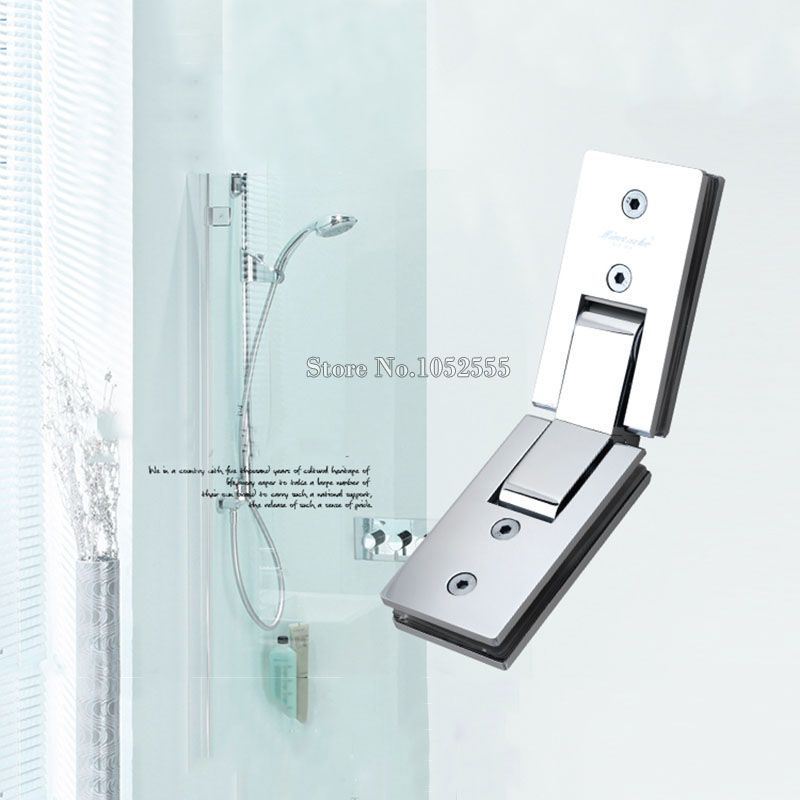 2pcs Stainless Steel 135 Degree Mirror Glass Door Hinges Holder Brackets Shower Bathroom To