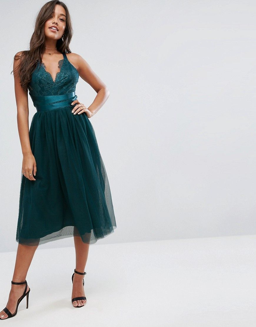6aa6bf1a942 ASOS PREMIUM Lace Top Tulle Midi Prom Dress with Ribbon Ties - Green ...
