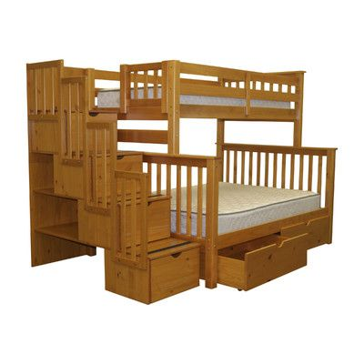 Bedz King Twin Over Full Bunk Bed With Storage Reviews Wayfair