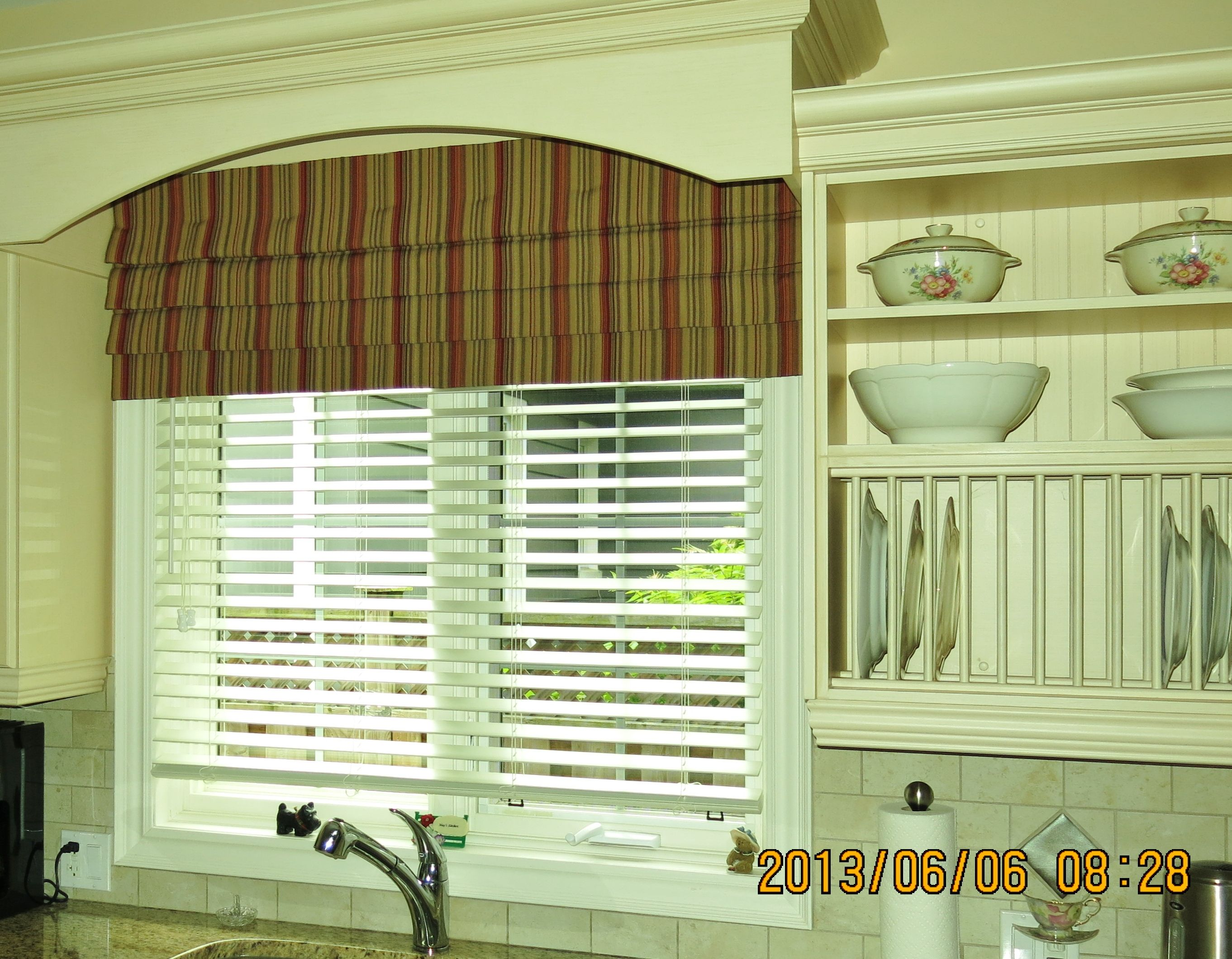 a fabric roman millville draperies above de drapery from valance shade faux custom of window top treatments