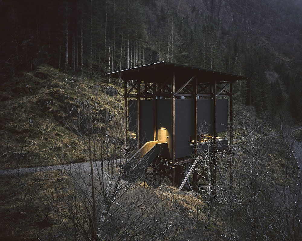 Peter Zumthor, Zinc Mine Museum Cafeteria at dusk