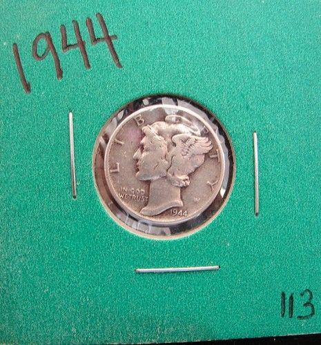 1944 Mercury Dime Fine 90 Silver Coin Philadelphia Mint