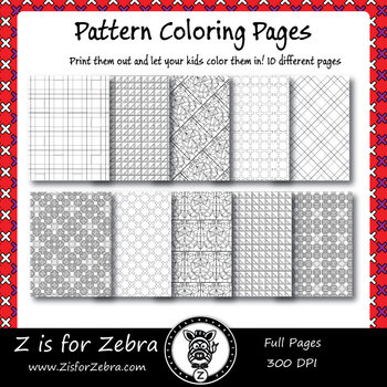 Digital Tessellation Coloring Book Full Page Patterns Set 3 Coloring Books Printable Coloring Book Pattern