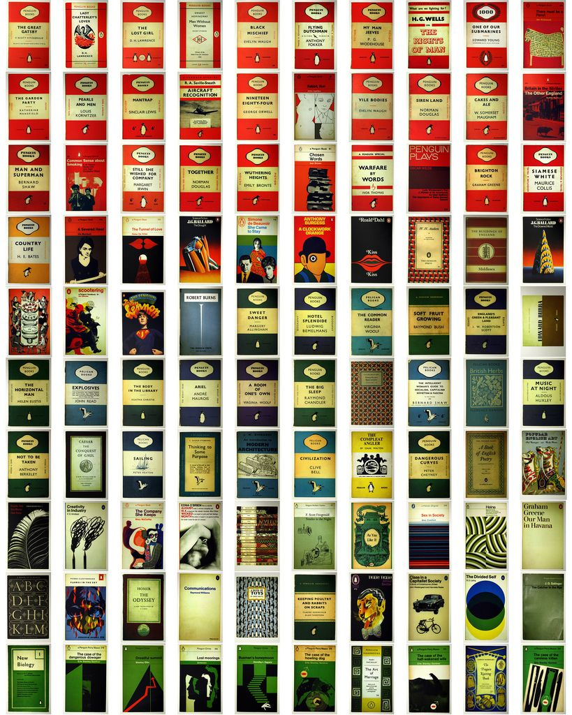 Vintage Penguin Book Cover Postcards : Penguin books three horizontal band design by edward
