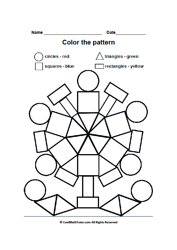Printable Color by Shape Worksheet for Preschool Kids – Preschool Shape Worksheets