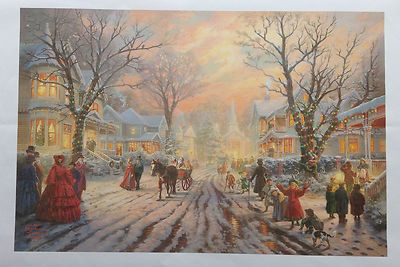Victorian Christmas Carol oil painting by Thomas Kinkade prints on canvas 16x24