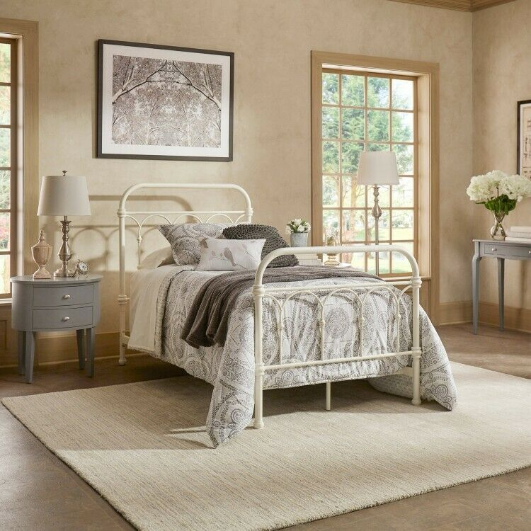 Details about Twin Metal Bed White Vintage Bedframe