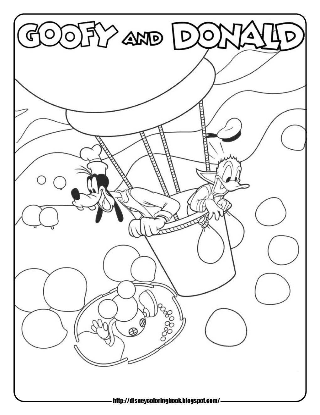 mickey mouse coloring pages goofy donald hot air balloon