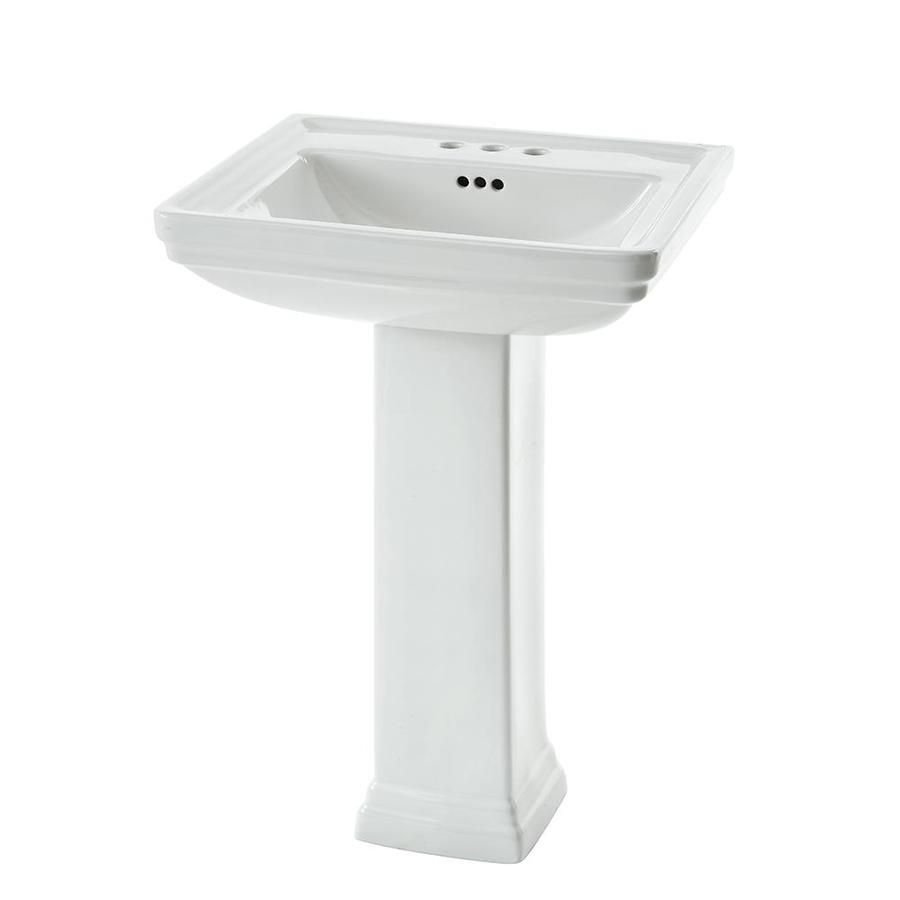 Aquasource 33 6 In H White Vitreous China Pedestal Sink Lowes Com Pedestal Sink Sink Small Bathroom Sinks