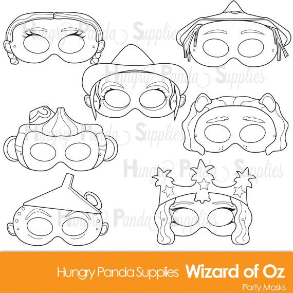 Wizard of Oz Printable Coloring Masks, Dorothy mask, scarecrow mask, lion mask, witch costume, oz masks, wizard masks, character costume