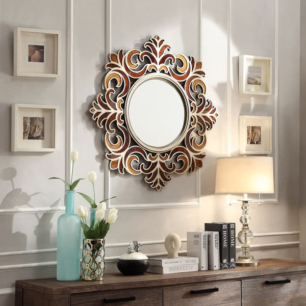 Wall Mirrors kiona roccoco frame bronze finish accent wall mirror | bronze