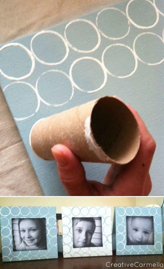 Como hacer marco para fotos con cartón y tubos de papel higiénico ...