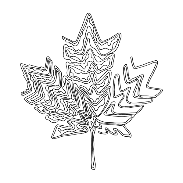 Abstract Tree Coloring Pages : Canadian maple leaf colouring page with abstract drawing