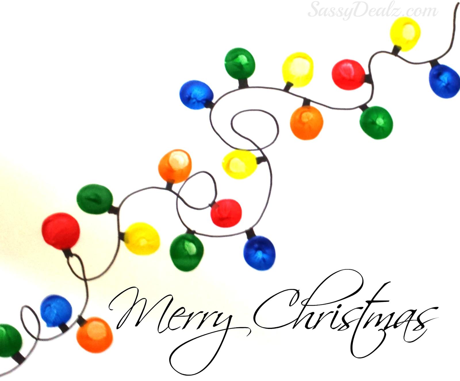 Christmas Light Craft Ideas Part - 30: Kids Christmas Paint Fingerprint Gifts | Fingerprint Christmas Light Craft  For Kids (DIY Christmas Card