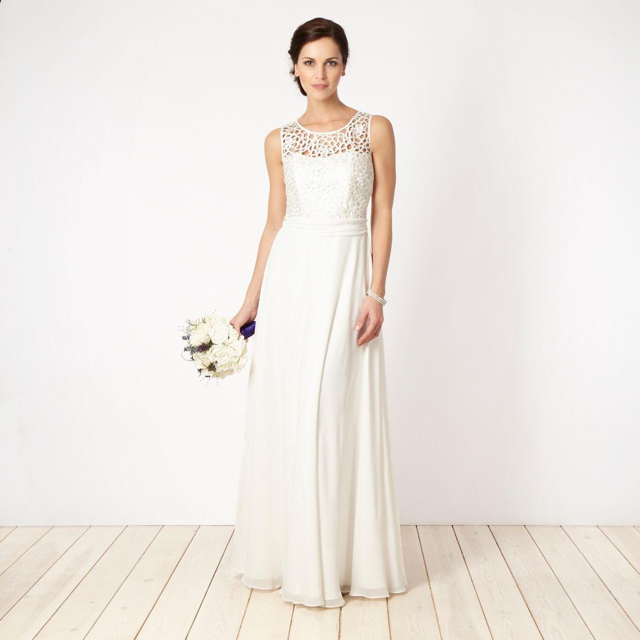 Ben de lisi designer cream cutout lace bridal gown at debenhams
