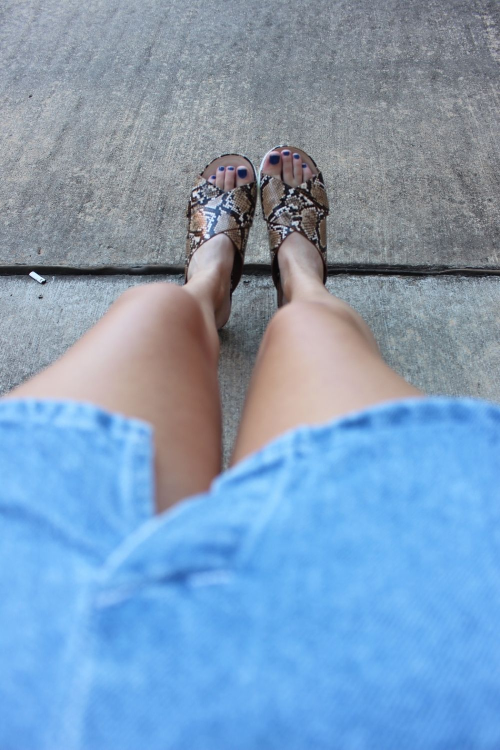 Snakeskin stacked sandals- always a good idea!
