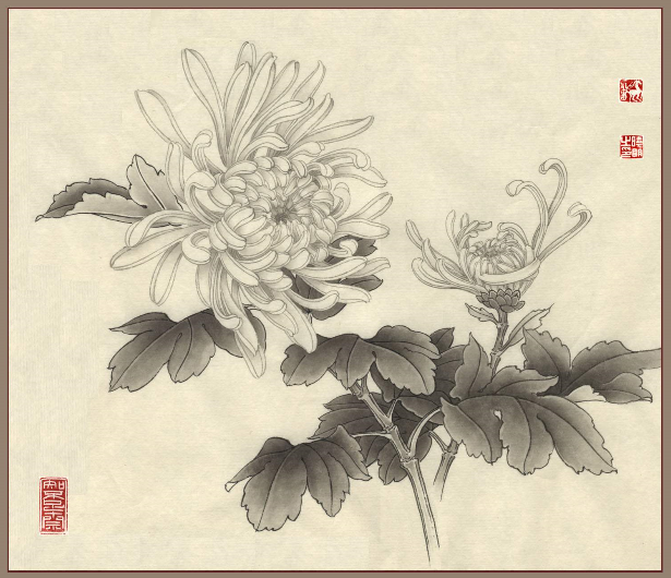 Chrysanthemum Flower Drawing In Chinese Painting Plum Orchid Bamboo And Chrysanthemum Japans Chinees Schilder