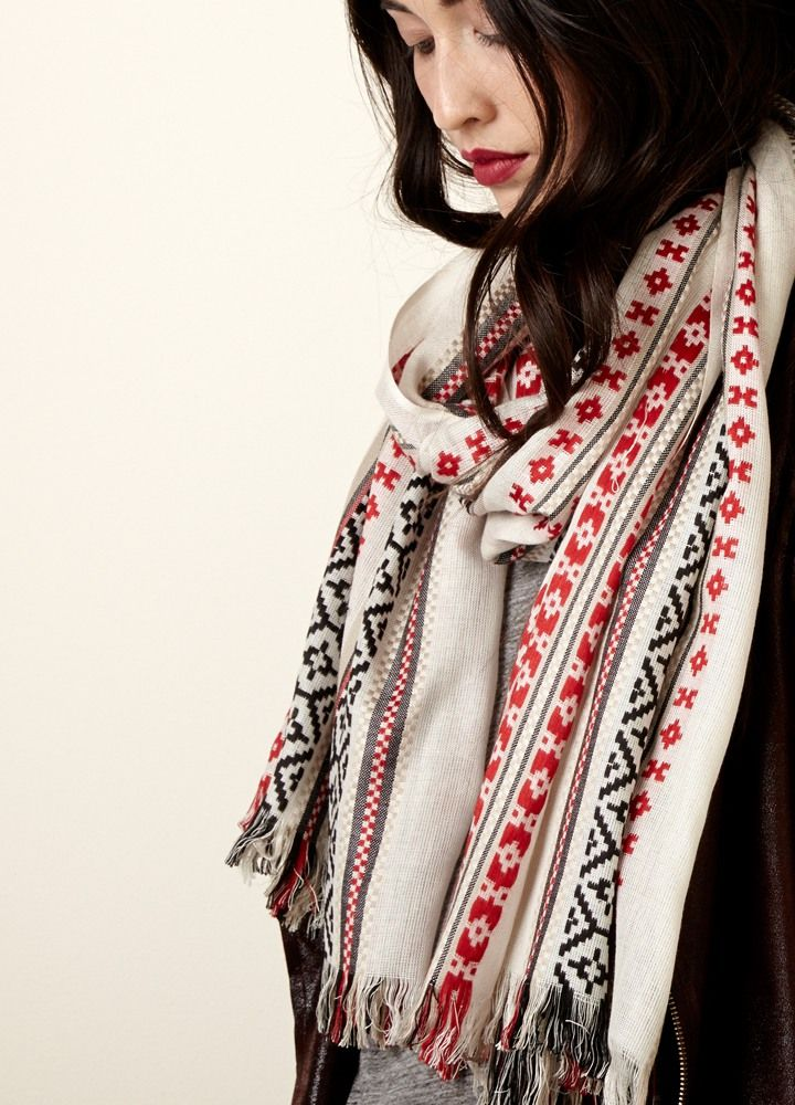 Ultra-cozy scarf with a folklore-inspired Fairisle print. Your softest statement accessory yet.
