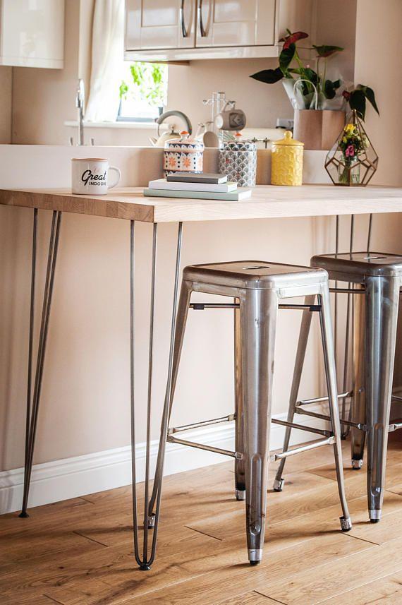 Oak Hairpin Large Breakfast Bar Table Breakfast Bar Table Kitchen Bar Breakfast Bar Kitchen