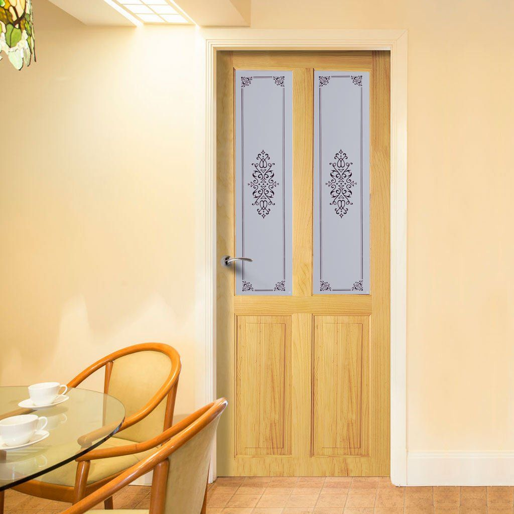 Victorian 2 Panel & 2 Pane Clear Pine Door with Campion Clear Etched Design Safety Glass.    #door #internaldoor #interiorddoor #interiordesign #pinedoor #glazeddoor